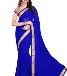 Buy Blue Faux Georgette Embroidered Saree With Blouse great-online-shopping-festival-2014 online