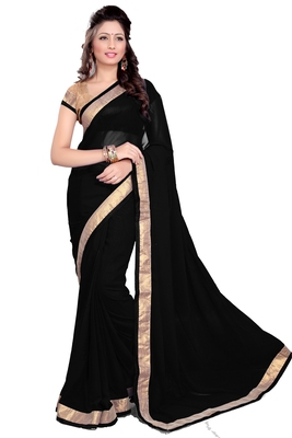 Black Faux Georgette Embroidered Saree With Blouse