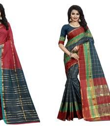 Buy Multicolor plain cotton silk saree with blouse