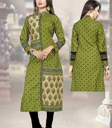 Green printed cotton poly kurtas-and-kurtis