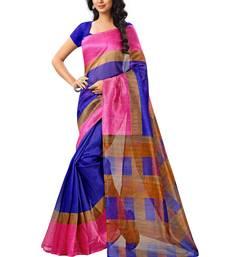 Buy blue printed bhagalpuri cotton saree with blouse below-500 online