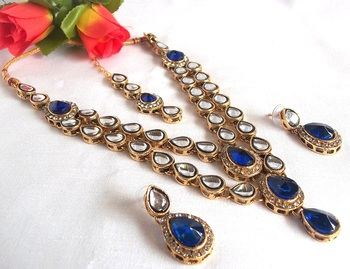 Blue Double line Kundan Necklace Set