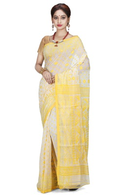 White hand woven silk cotton saree