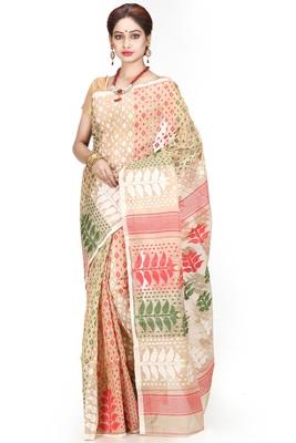 Cream hand woven silk cotton saree