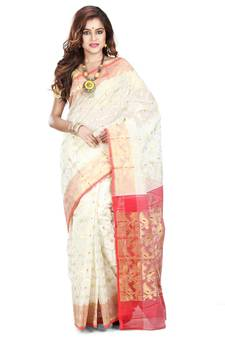 d71e980f4cb68 White hand woven silk cotton saree