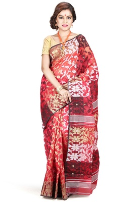 Red hand woven silk cotton saree