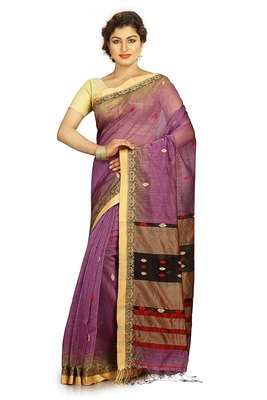 Mauve hand woven silk cotton saree with blouse