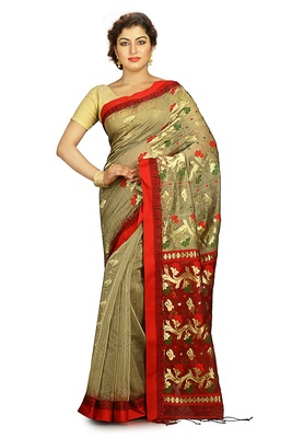 Beige hand woven silk cotton saree with blouse