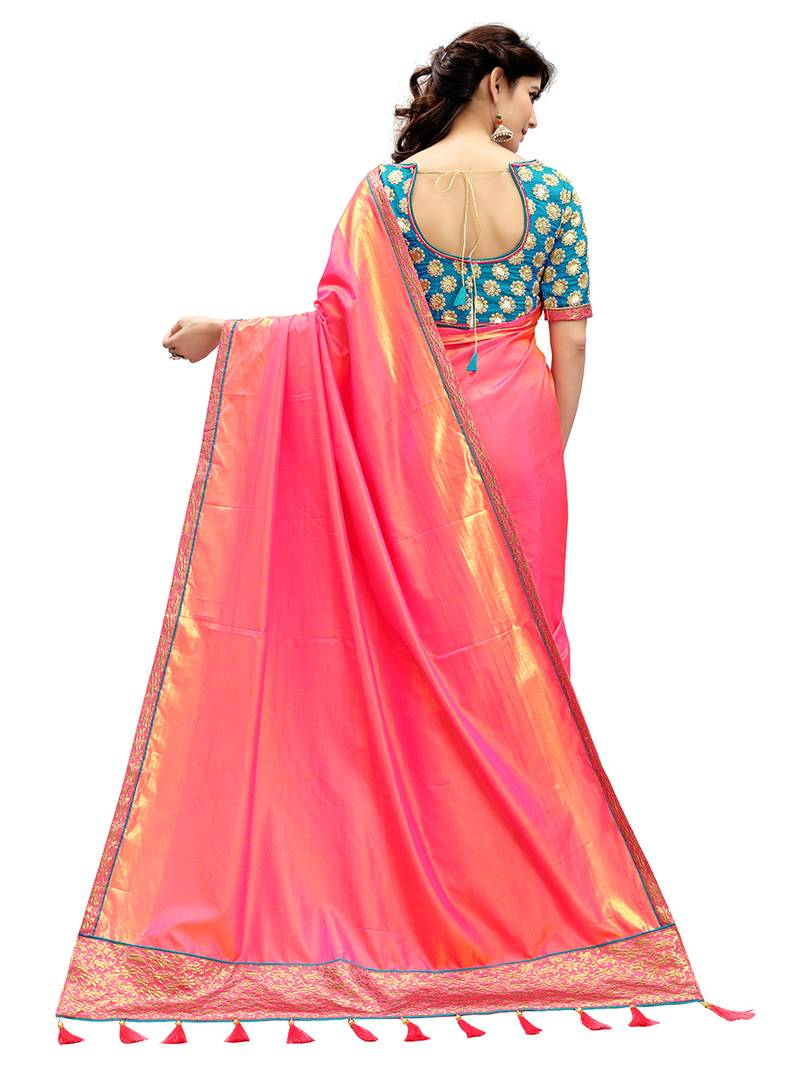 Buy Coral Plain Silk Saree With Blouse Online