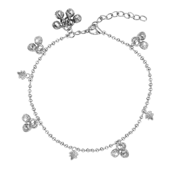 Silver crystal anklets