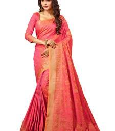 Buy Pink printed cotton silk saree with blouse cotton-silk-saree online