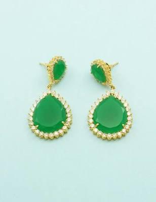 Emerald Green CZ AD American Diamond Dangle Earrings Jewellery for Women