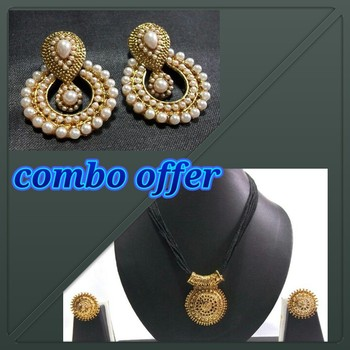 Combo Offer Pearl Polki Earring with Tread Necklace set