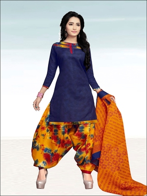 Navy blue plain cotton salwar