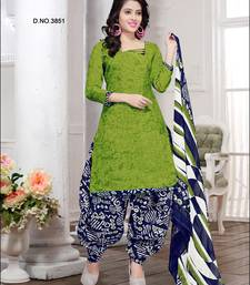 Light Green Printed Cotton Salwar