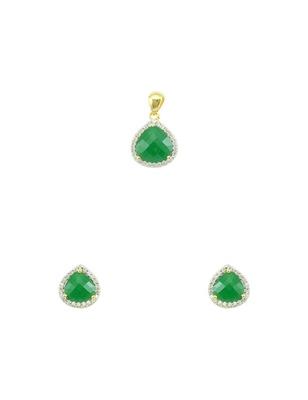 Emerald Green CZ AD American Diamond Pendant Set Jewellery for Women