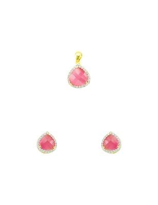 Pink CZ AD American Diamond Pendant Set Jewellery for Women