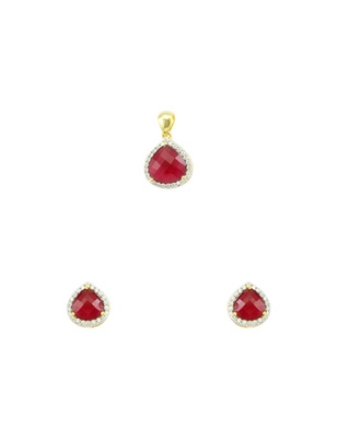 Ruby Red CZ AD American Diamond Pendant Set Jewellery for Women