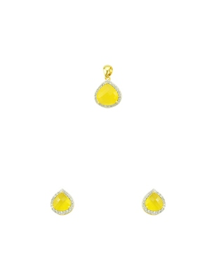 Yellow CZ AD American Diamond Pendant Set Jewellery for Women