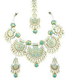 Turquoise Blue Vilandi Kundan Necklace Set with Maang Tika Jewellery for Women