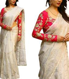 Buy  off white plain chanderi saree with blouse party-wear-saree online