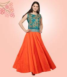Blue and Orange Colour Art Silk Semi-stitched Gown