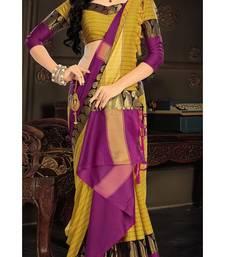 Buy Yellow plain silk saree with blouse pongal-dhoti-saree online