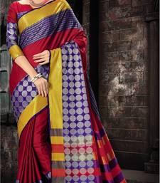 Buy Multicolor printed silk saree with blouse pongal-dhoti-saree online