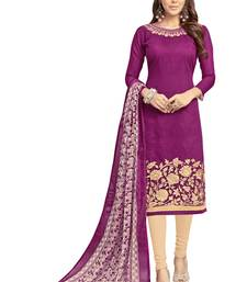 Buy Orange embroidered chanderi salwar semi-stitched-salwar-suit online