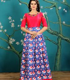 Royal Blue And Pink Embroidered With Digitally Printed Twrill Silk Stitched Designer Gown