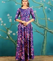 Blue  Digitally Printed Taffeta Silk Stitched Designer Gown