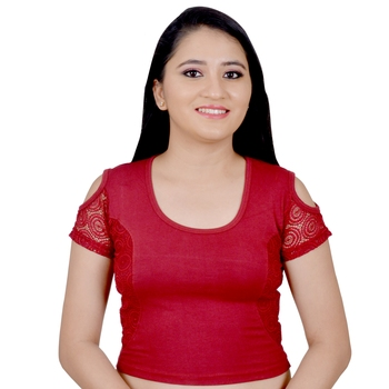 Maroon  Cotton Lycra Plain stitched blouse