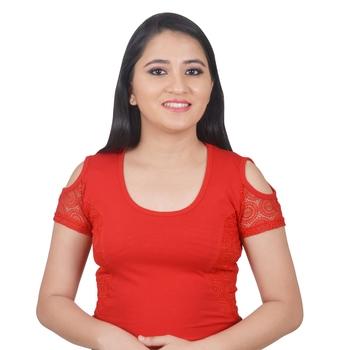 Red Cotton Lycra Plain stitched blouse