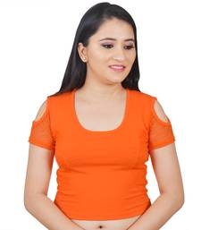 Orange  Cotton Lycra Plain stitched blouse