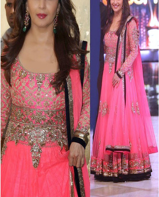 826f6554ef Pink with Embroidery jari and stone work madhuri Dixit pink anarkali suit