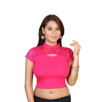 Pink cotton plain stitched blouse