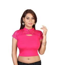 Pink cotton plain stitched blouse