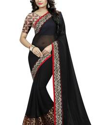 Buy Black printed georgette saree with blouse printed-saree online