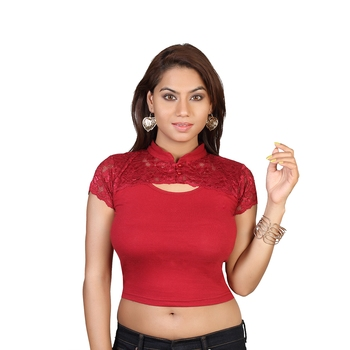 Maroon cotton plain stitched blouse