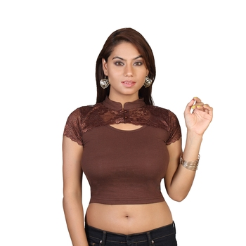 Brown cotton plain stitched blouse