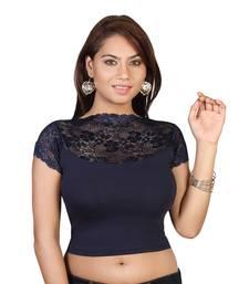 Navy Blue cotton plain stitched blouse