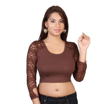 Brown cotton plain stitched blouse