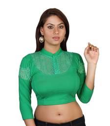 Green cotton plain stitched blouse