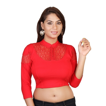 Red cotton plain stitched blouse