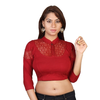Maroon cotton plain stitched blouse