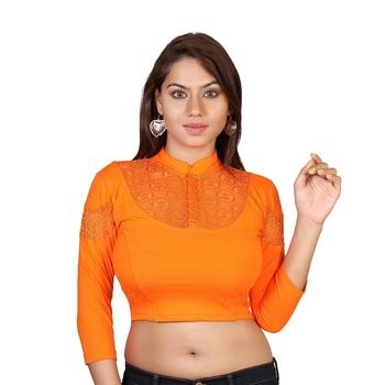 Orange cotton plain stitched blouse