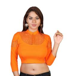 Orange cotton plain stitched blouse