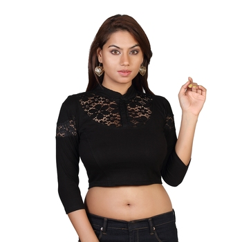 Black cotton plain stitched blouse