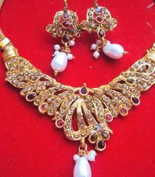 Buy Multicolored Jadau Traditional Set necklace-set online