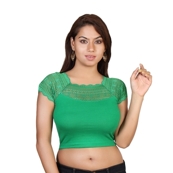 Green cotton plain stitched blouse